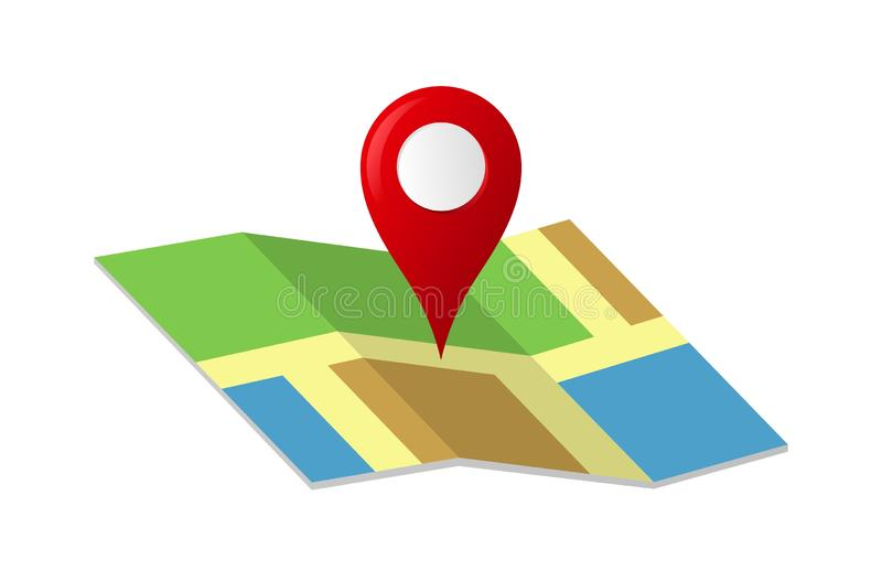 Map with a Red Pin Icon. Concept Clipart design of illustrator vector a Map with a pin Location address company isolated on white / transparent background vector illustration
