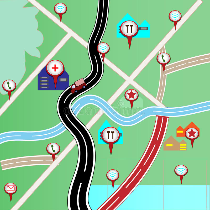 Map with red pin pointers for travel - concept vector stock illustration