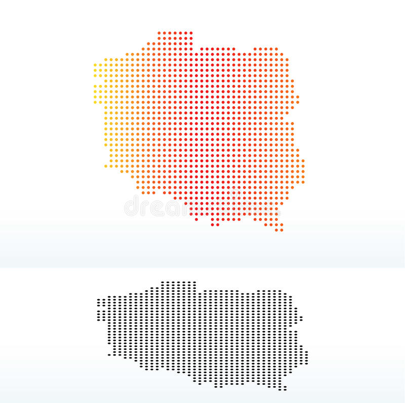 Map of Republic Poland with Dot Pattern vector illustration