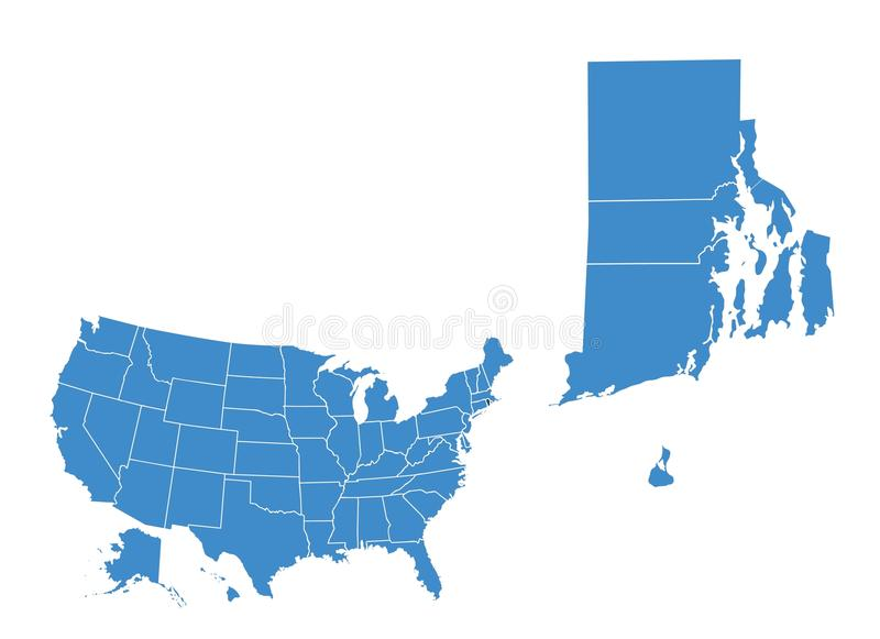 Map of Rhode island state stock illustration
