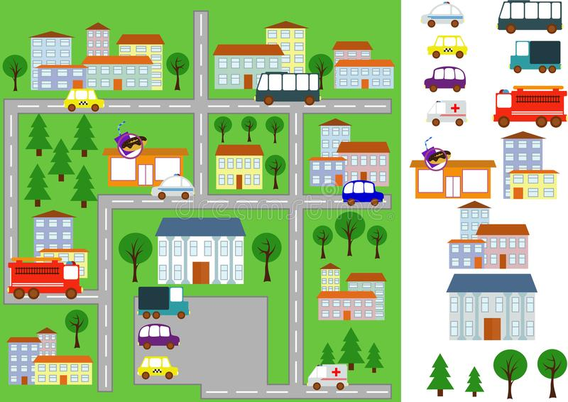 Map with roads, cars and buildings stock photos