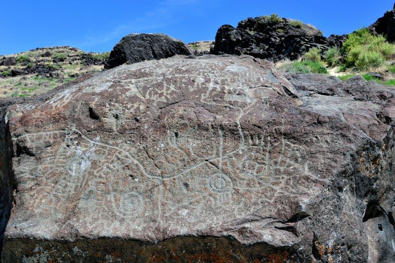 Map rock top native american petroglyphs snake river idaho royalty free stock images