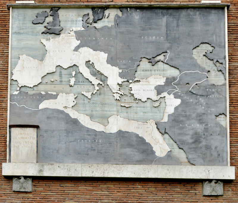 Map of the Roman Empire. At its largest on the wall of the Roman Forum in Rome, Italy, Europe royalty free stock photography