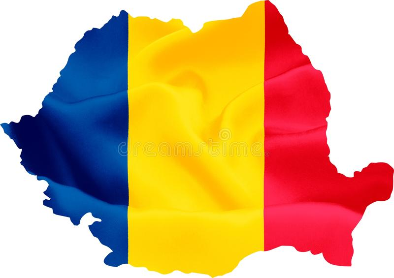 Romania Map with Flag stock image