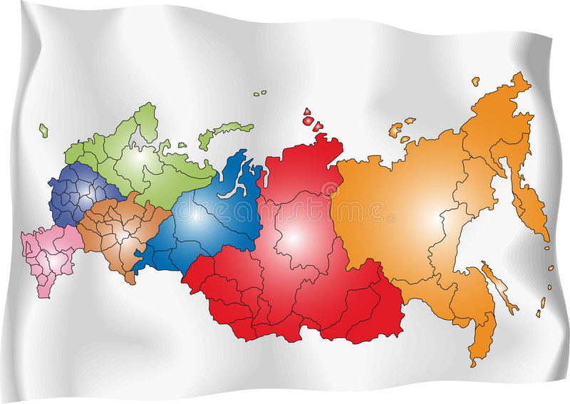 Map of Russia. Vector map of Russia on white flag. The Russia map has borders of areas and regions stock illustration