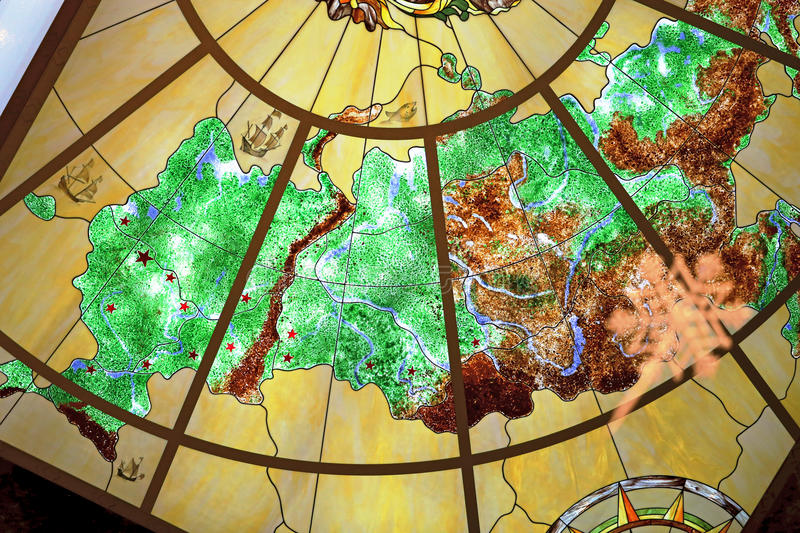 Map of Russia. Beautiful multi-colored map of Russia is photographed close up royalty free stock photo