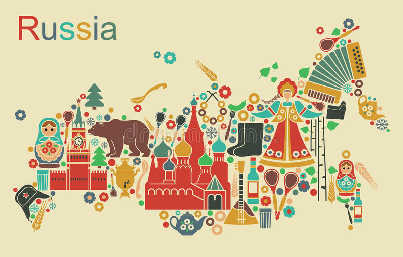 Map Of Russia. Russian icons in the form of maps of Russia stock illustration
