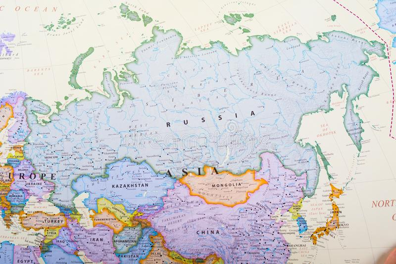 Map of Russia. Russia, the world's largest nation, borders European and Asian countries as well as the Pacific and Arctic oceans. Its landscape ranges stock image