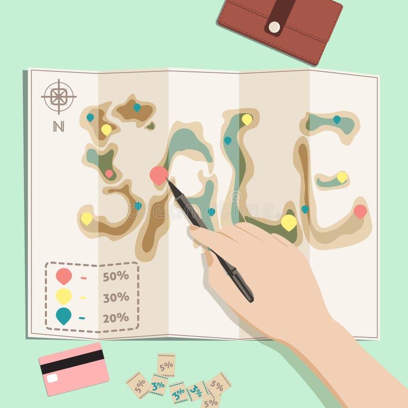 Map sale. vector illustration