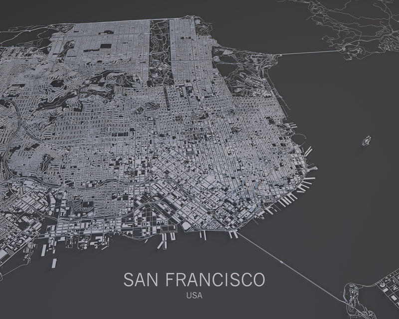 Download Map Of San Francisco Satellite View Map In Negative Usa California