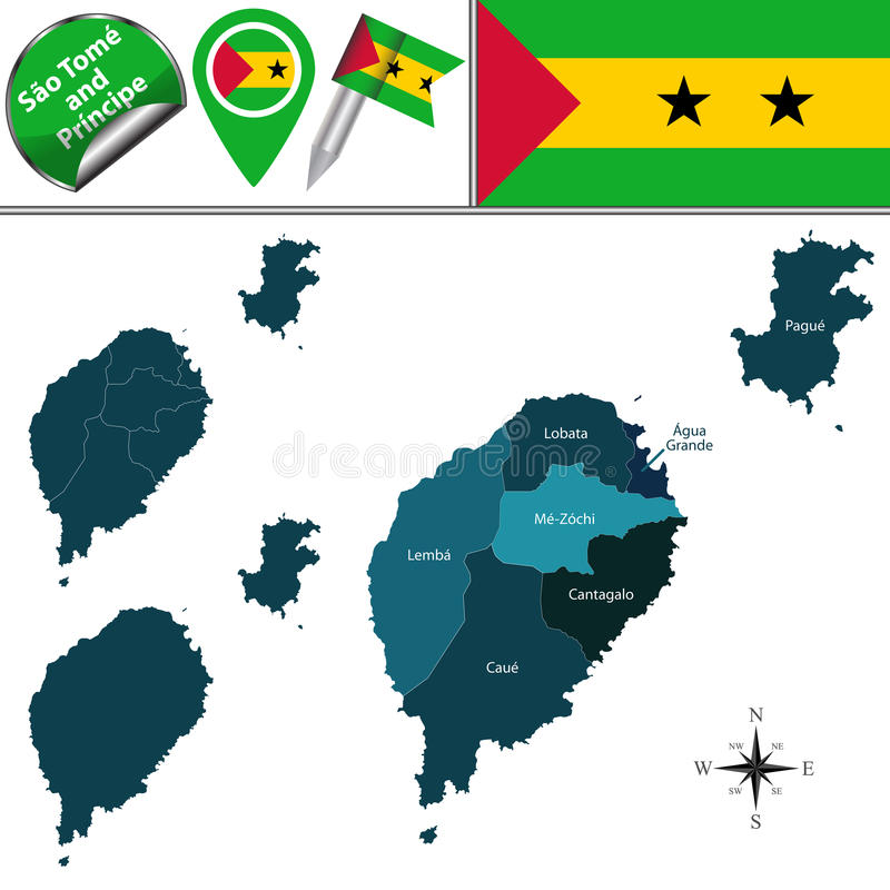 Map of Sao Tome and Principe with Named Districts. Vector map of Sao Tome and Principe with named districts and travel icons vector illustration