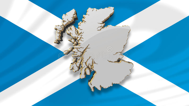 Map of Scotland and Scottish Flag. A 3D computer generated map of Scotland floating in front of the Scottish St Andrew's Saltire flag vector illustration