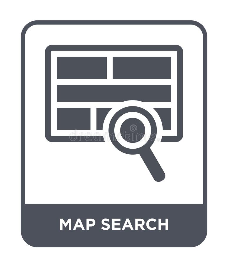 Map search icon in trendy design style. map search icon isolated on white background. map search vector icon simple and modern. Flat symbol for web site, mobile vector illustration