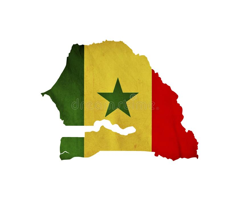 Map of Senegal isolated royalty free stock photo