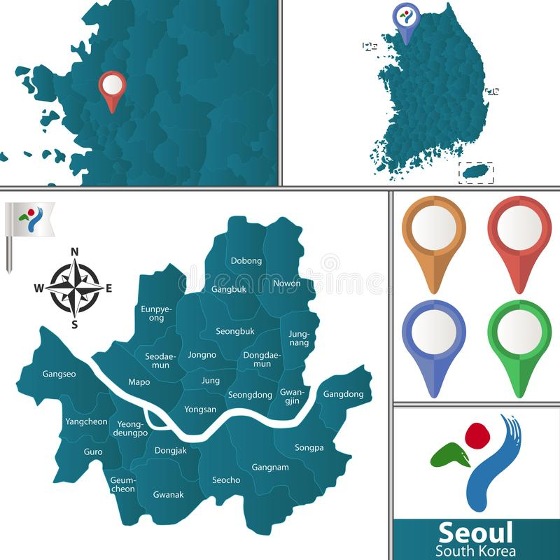 Map of Seoul with Districts. Vector map of Seoul with named districts, pins icons and locations on South Korean map vector illustration