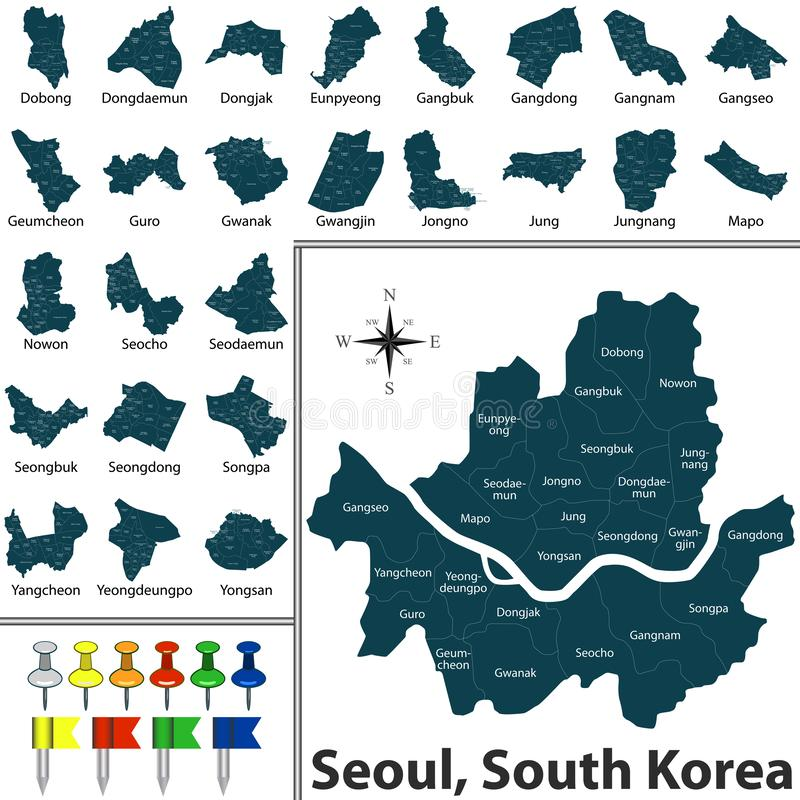 Map of Seoul with Districts. Vector map of Seoul, South Korea, with districts maps and icons vector illustration