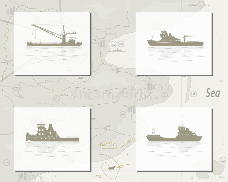Map with ships royalty free illustration