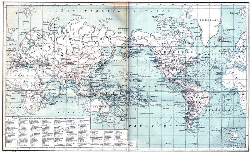 Map showing active volcanoes across the World. Map showing active volcanoes across Asia, Europe, Africa and Australia, North and South America, vintage engraved royalty free stock photos