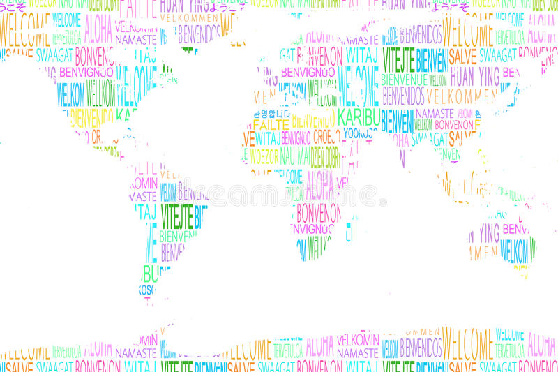 Map showing welcome in different languages stock photo for Green in different languages
