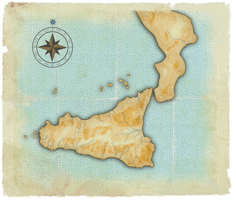 A map of Sicily is in age-old style vector illustration