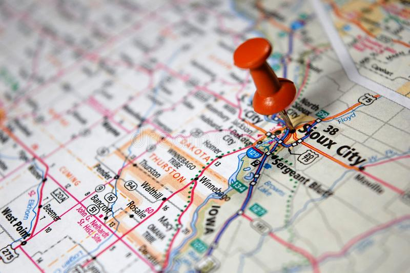 Sioux City, Nebraska. A map of Sioux City, Nebraska marked with a push pin royalty free stock photography