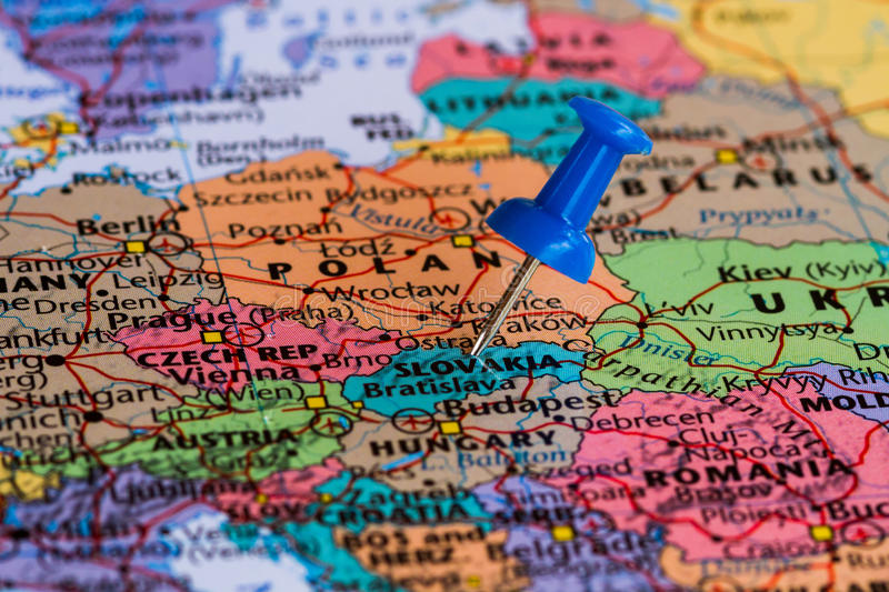 Map of slovakia. With a blue pushpin stuck stock images