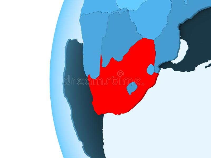 Map of South Africa. 3D render of South Africa in red on blue political globe with transparent oceans. 3D illustration vector illustration