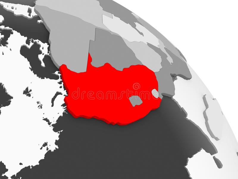 Map of South Africa. 3D render of South Africa in red on grey political globe with transparent oceans. 3D illustration royalty free illustration