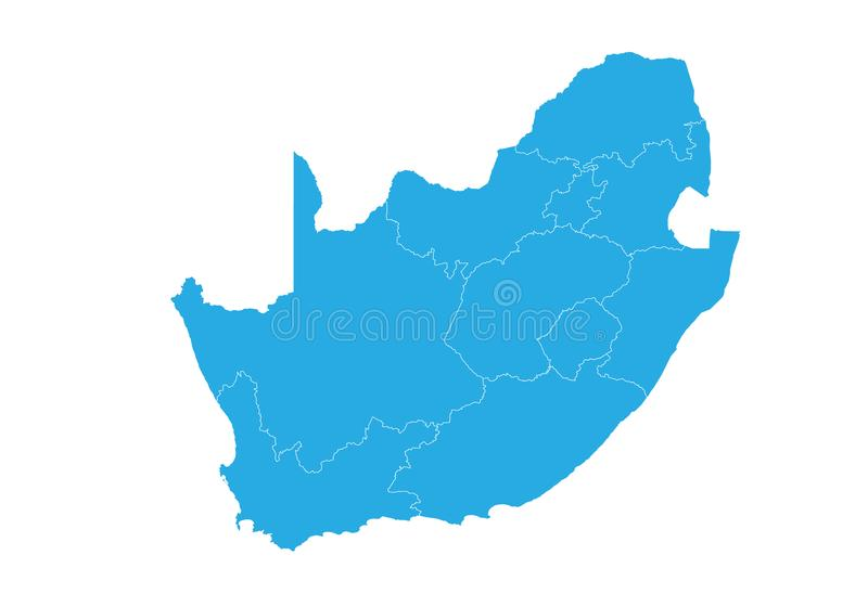 Map of South Africa. High detailed vector map - South Africa. Map shape/contour/outline/border with state isolate on white background vector illustration
