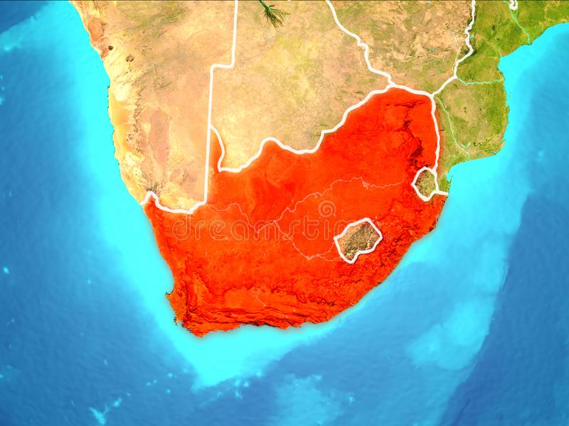 Map of South Africa. South Africa highlighted in red from Earth's orbit. 3D illustration. Elements of this image furnished by NASA royalty free illustration