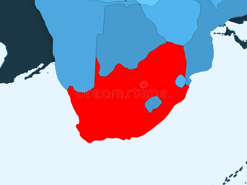 Map of South Africa. South Africa in red on blue political map with transparent oceans. 3D illustration vector illustration