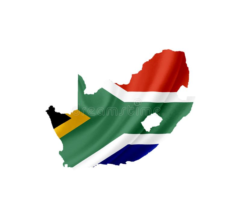 Map of South Africa with waving flag isolated on white royalty free stock images