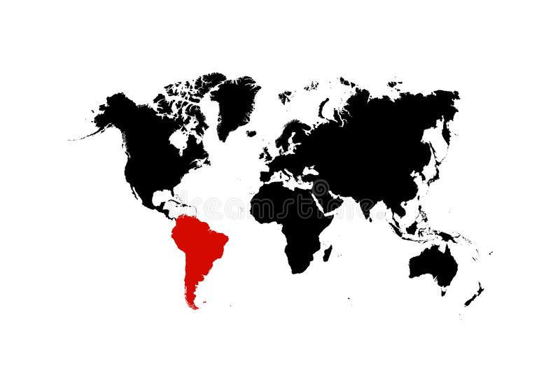 The map of South America is highlighted in red on the world map - Vector stock illustration