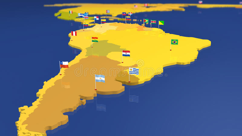 Map Of South America With National Flags Stock Illustration