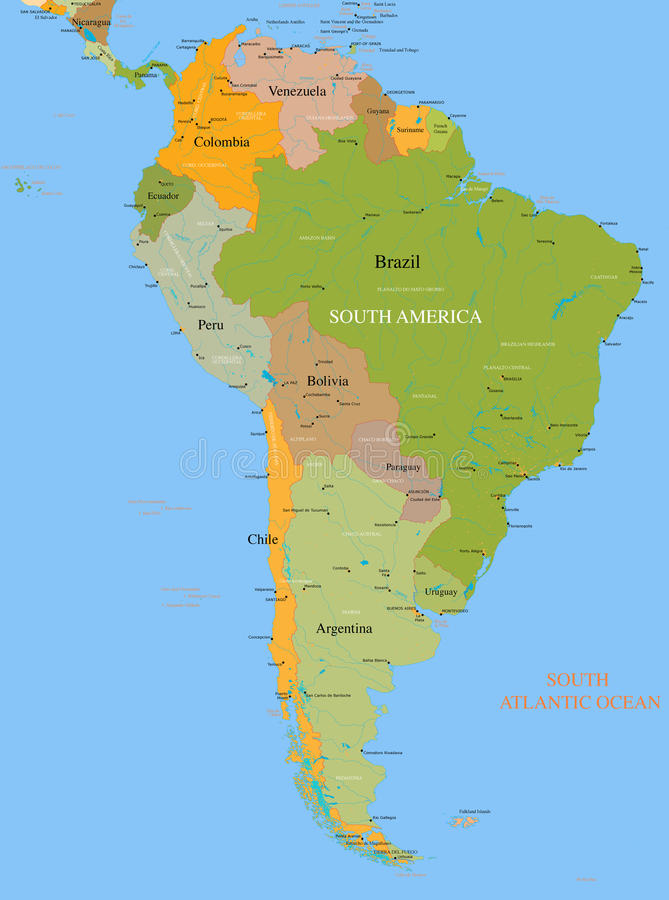 Free Map South America - Vector - Detailed Royalty Free Stock Images - 21126289