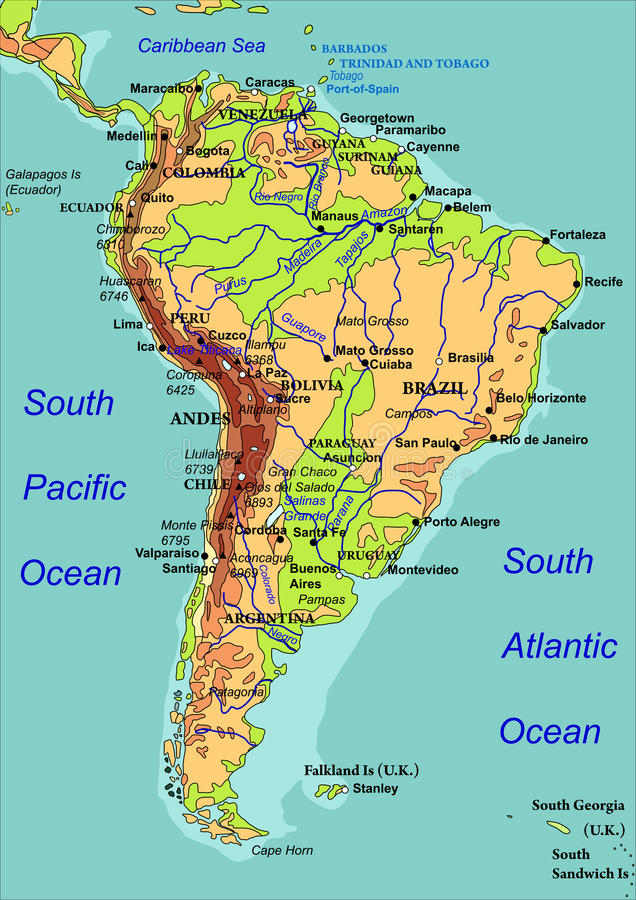 Map Of South America Vector Illustration Stock Vector
