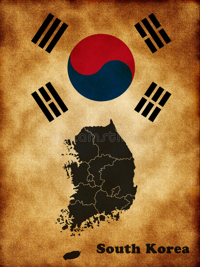 Download Map of South Korea stock illustration. Illustration of geography - 25131126