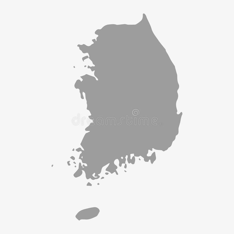 Map Of South Korea In Gray On A White Background Stock Vector - South korea map vector