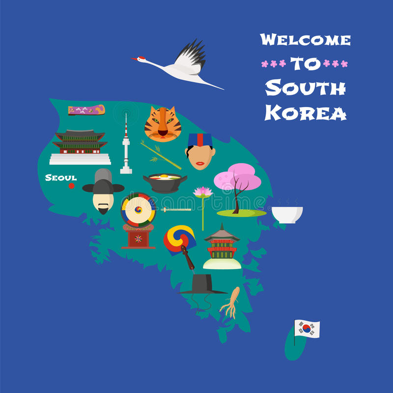 Map of South Korea vector illustration, design element. Icons with South Korean cherry tree, drum, oriental costumes. Explore South Korea concept image vector illustration