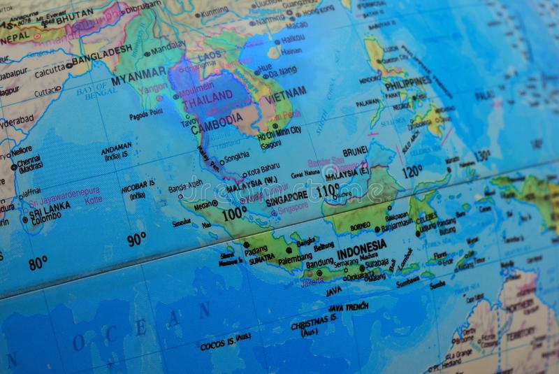 The map of southeast asia on a globe. A photo taken on the map of southeast asia on a globe stock photo
