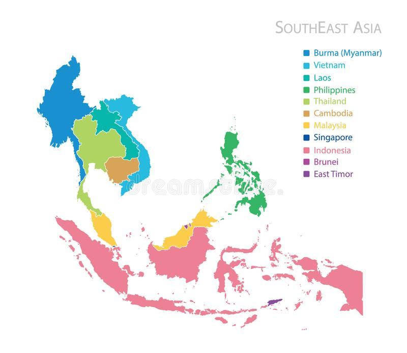 Map of Southeast Asia. With name vector illustration
