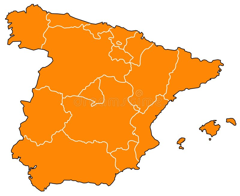 Map of Spain. With different regions vector illustration