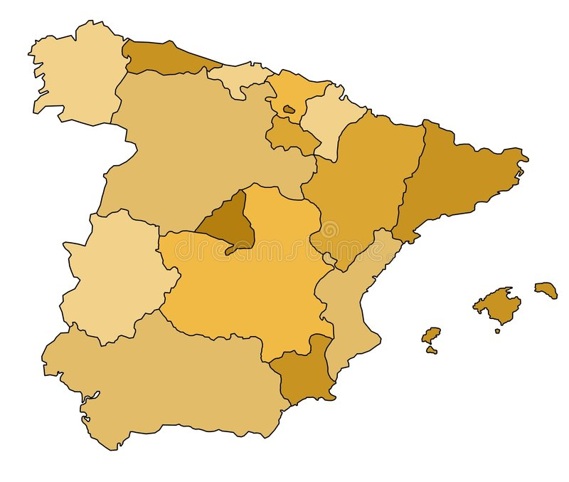 Map of Spain. With different regions royalty free illustration