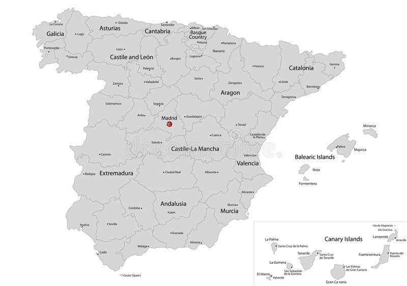 Map of Spain. Spain map designed in illustration with the regions colored in grey colors and with the main cities. Neighbouring countries are in an additional royalty free illustration