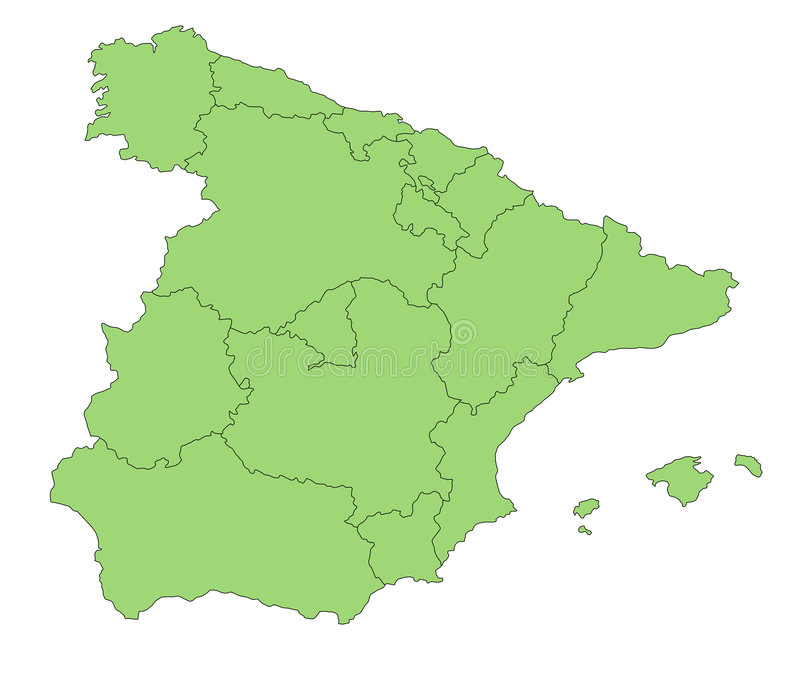 Map Spain. A map of Spain showing the different provinces in green tone stock illustration