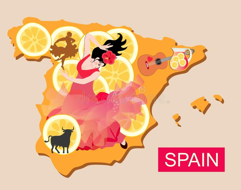 Map of Spain with beautiful girl - flamenco dancer, and pieces of lemon with various national symbols.  royalty free illustration