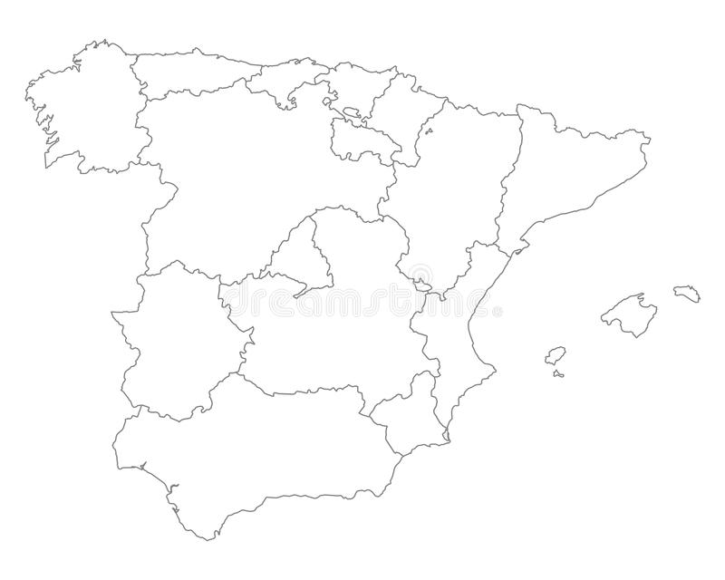 Map of Spain. Detailed and accurate illustration of map of Spain vector illustration