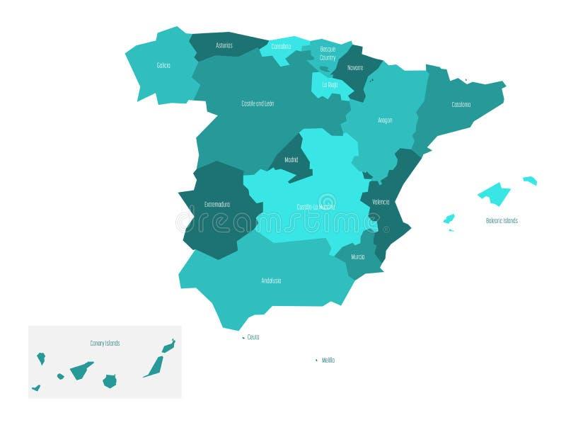 Map Of Spain Devided To 17 Administrative Autonomous Communities