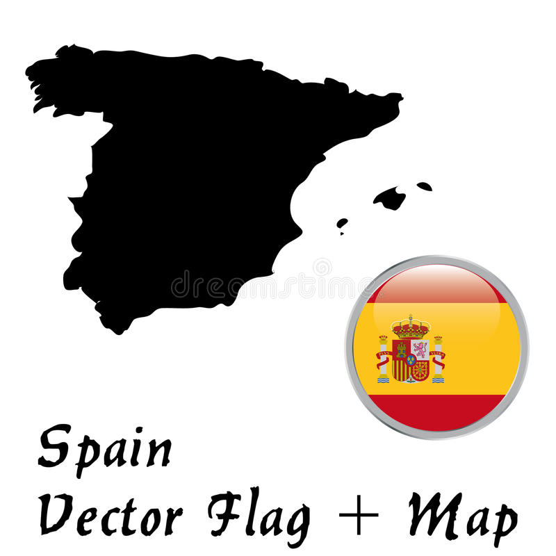 Map of Spain and flag. A map of Spain and a round flag vector illustration