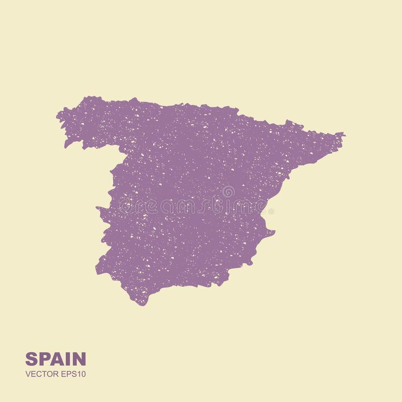 Map of Spain. Vetctor icon in flat style with scuffed effect royalty free illustration